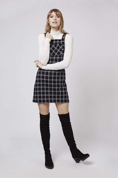 Check Pinafore Dress - Topshop