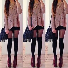 Lovely outfit for Autumn. Comfy sweater, shorts, over-the-knee socks, polka dot tights, booties and a ruffle bag.