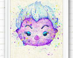 Disney Ursula Print The Little Mermaid Ariel Tsum Tsum Arte Disney, Disney Art, Ursula Disney, Watercolor Disney, Watercolor Paintings, Nursery Room Decor, Wall Decor, Wall Art, Pinturas Disney