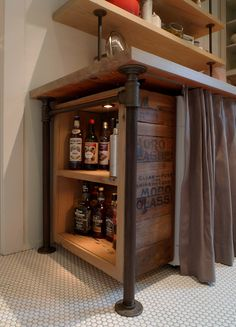 Sweet Peach - Home - Janet and John's Kitchen Remodel ... under the counter illuminated liquor storage, made by hand. LOVE.