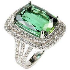 20.16 Carat Green Tourmaline Diamond Gold Bezel Ring