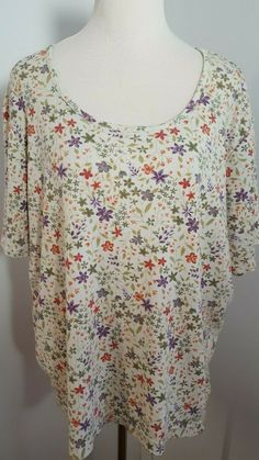 ea1297efe75 Details about White Stag Woman Top Sz 22W Stretch Knit Floral Boat Neck Short  Sleeve 890