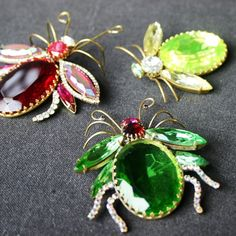 Green bug vintage brooch by MademoiselleChipotte on Etsy