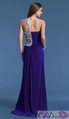 Sheath One Shoulder Chiffon with Beading Royal Blue Prom Dress - CDdress.com
