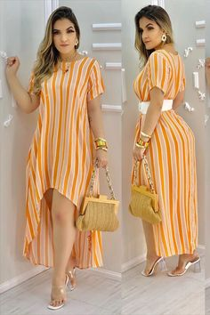 African Fashion Skirts, African Wear Dresses, Fashion Dresses, Girly Outfits, Trendy Outfits, Cool Outfits, Africa Dress, Striped Dress, Casual Dresses