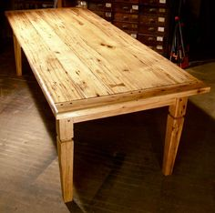 Heirloom Workshops Reclaimed Wood Table, Tapered Leg, Reclaimed Hickory Wood, Natural Finish, 3in Breadboard Ends