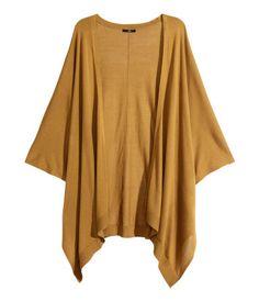 Wide-cut, fine-knit open cardigan in a mustard yellow. | Warm in H&M
