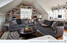 A good example of a modern traditional living room in an attic with patterns all around.