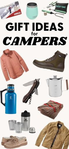 This gift guide is full of camping gifts for the outdoorsy person on your list! Over 50 gifts for campers including stocking stuffers, clothes, gadgets, happy hour, camp cooking, and more! Weekend Camping Trip, Camping Menu, Camping Gifts, Go Camping, Camping Holidays, Truck Camping, Camping Recipes, Camping Ideas, What To Bring Camping