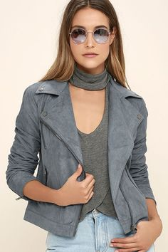 Cruise past them all in the Catch You on the Flip Side Slate Blue Suede Moto Jacket! Soft vegan, microfiber suede shapes a collared neckline (with gunmetal hardware) atop a seamed bodice with an asymmetrical zipper closure. Three zipper pockets and long sleeves with zipper cuffs complete this classic moto look.