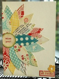 card making ideas Scrapbooking Inspiration / FUN with paper or fabric! on we heart it / visual bookmark Fabric Cards, Paper Cards, Fabric Postcards, Karten Diy, Beautiful Handmade Cards, Diy Handmade Cards, Flower Cards, Diy Cards With Flowers, Flower Paper