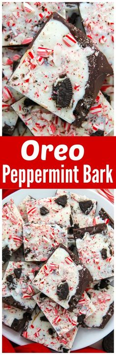oreo peppermint bark layered peppermint chocolate bark topped with ...