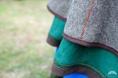 Handmade stitching on Viking coat