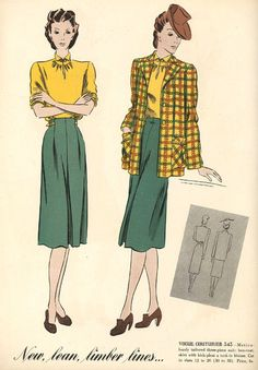 1940s green yellow suit dress skirt plaid jacket hat shoes brown color illustration vintage fashion style War Era WWII swing