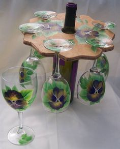 Hand Painted Purple Pansies Wine Glas Set