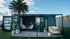 A luxury shipping container home from Contained, an Australian builder specializing in sustainable building.