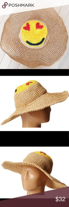 BCBG MAXAZRIA STRAW SMILEY EMOJI FLOPPY BEACH HAT The cutest straw floppy hat by BCBG featuring a classic heart eyes emoji on the top of the hat. Perfect for the right amount of shade on fun beach days. Only worn once, in perfect condition! BCBGMaxAzria Accessories Hats