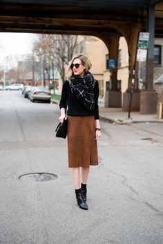 #camel #suede #skirt #black #layers