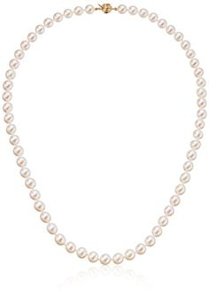 FB Jewels Solid 14K Yellow Gold 6-7mm Pink Yellow Gold Fw Cultured Near Round Pearl Necklace