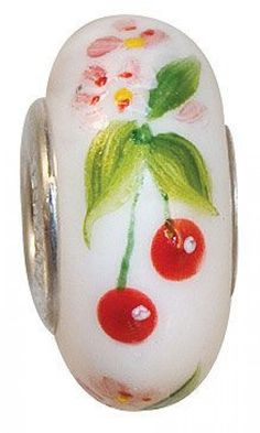 Fenton Art Glass Artisan Crafted Bead - Cherries and Blossoms - St. Silver Lined