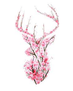 Cherry Blossom Deer Art Print