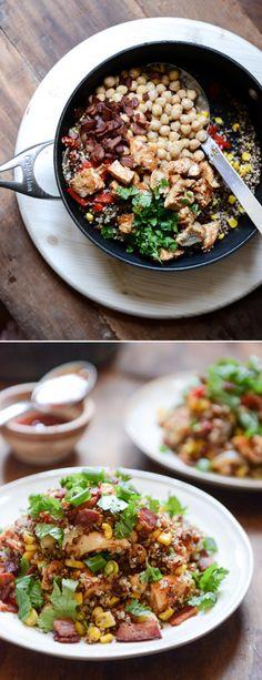 Summer BBQ Chicken Quinoa Salad I howsweeteats.com