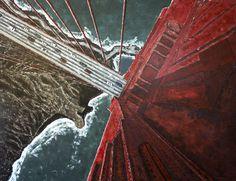 Título: Vértigo Dimensiones: 198x150cm Técnica: Acrílico con espátula sobre lienzo Estado: DISPONIBLE  Title: Vertigo Dimensions: 198x150cm Technique: Acrylic with knife on canvas Status: AVAILABLE  A special angle for a very special bridge, the Golden Gate in San Francisco