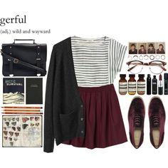 Striped t-shirt, maroon flippy skirt and dark green cardigan