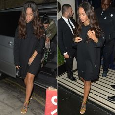 Rihanna Vetements total fucking darkness hooded tee, Christian Louboutin Devibroda beaded sandals, Versace Palazzo dusty green backpack