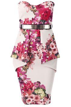 Ekskluzywna sukienka tuba w kwiaty wesele