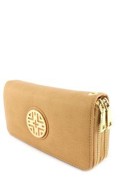 Double Zipper Wallet w/Gold Medallion