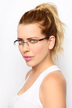 'Sarah Palin' Luxe Rimless Rectangular Clear Glasses - Nickel #8471-3