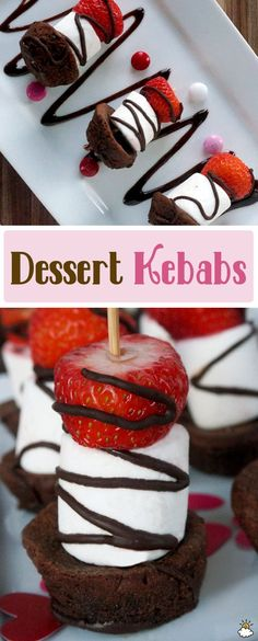 Make dessert time fun with these creative and delicious Dessert Kebabs (Baking Desserts Creative) Brownie Desserts, Gourmet Desserts, Chocolate Desserts, Delicious Desserts, Yummy Food, Baking Desserts, Chocolate Cake, Snacks Für Party, Party Desserts