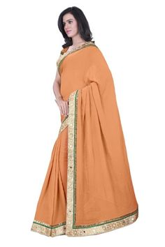 Copper Orange Sarees @ 1600 Bhagalpuri Saree With Embroidary Border