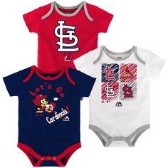 Your tiny fan can show off their St. Louis Cardinals pride three different ways with this sweet little Onesie set! The shirts are made of a soft and stretchy cotton knit and each one is screen printed with a different design including official Cardinals team colors and logos. The fold over collar and triple snap closure at the bottom make for quick and easy changes sure to suit Mom & Dad.
