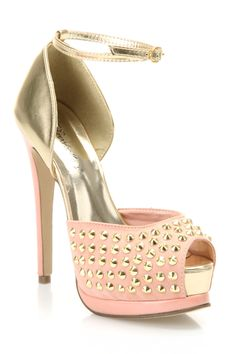 Breckelle's Viola-15 Studded Sandals in Blush - Beyond the Rack