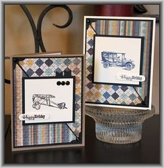 Technique Tuesday stamp set called All Aboard   vintage biplane, classic car