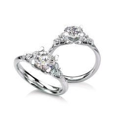 """Meadowsweet"" MaeVona's three stone cluster engagement ring @ Wedding Day Diamonds"