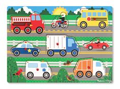 Melissa & Doug Vehicles Wooden Peg Puzzle, Image 3 of 4 Wooden Pegs, Wooden Puzzles, Jigsaw Puzzles, 2nd Birthday Gifts, Do It Yourself Organization, Puzzles For Toddlers, Melissa & Doug, Farm Yard, Toys Shop