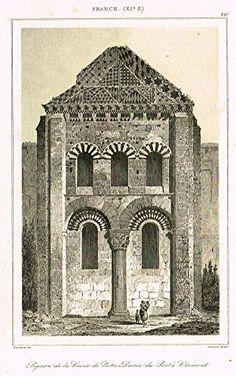 """Bas's France Encyclopedique - """"NOTRE DAME DU PORT A CLERMONT"""" - Steel Engraving - 1841"""