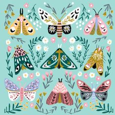 Butterfly Garden No. 3 - butterfly illustration Art Print by Andrea Lauren Design - X-Small Butterfly Illustration, Simple Illustration, Graphic Design Illustration, Nature Illustration, Butterfly Art, Butterflies, Guache, Watercolor Animals, Patterns In Nature