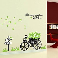 Green Leaves Flowers Bicycle English Letters Wall Decal PVC Home Sticker House Vinyl Paper Decoration WallPaper Living Room Bedroom Art Picture DIY Murals Girls Boys kids Nursery Baby Playroom Decor ** Find out more about the great product at the image link.