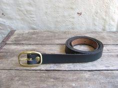 vintage c. 1970s skinny ink black leather belt by MouseTrapVintage, $24.00