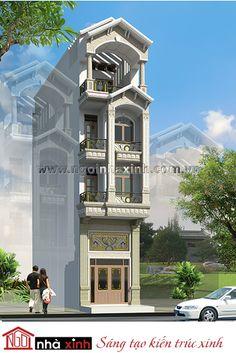 Gam màu trắng và xanh được sử dụng làm gam màu chủ đạo mang đến vẻ đẹp thanh thoát nhẹ nhàng mà vô cùng cuốn hút cho mẫu nhà phố đẹp.