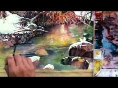 Watercolor with Lian Quan Zhen - Snow Harmony - Video Lessons of Drawing & Painting Art Watercolor, Watercolor Video, Watercolour Tutorials, Watercolor Techniques, Painting Techniques, Painting Videos, Painting Lessons, Painting & Drawing, Finger Painting