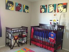 Superhero Nursery - Are you concerned that your son might just be too young to become a superhero fan? Then worry no more. You can also apply the Superhero theme in your little boy's nursery. Just add some Superhero bedding and frames then perhaps a couple of plush toys with non-toxic parts which your little boy might ingest then, voila! A simple Superhero themed nursery.