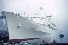 SS Canberra leaving Belfast April 1961
