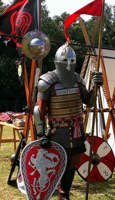 by Edwulff Medieval Weapons, Medieval Life, Medieval Knight, Medieval Fantasy, Armadura Medieval, Viking Armor, Arm Armor, Larp, Varangian Guard