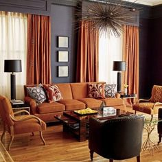 Orange  And Brown Living Room Birmingham By Signature