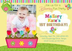 Spring Blooming Flowers Garden Birthday Invitation (digital file). $18.00, via Etsy.